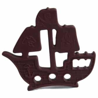 Ninja Babies safe and chewable Chocolate Pirate Ship Ninja Chew Design. This funky pirate ship shaped chewie or teether is chocolate in colour, soft and made from non-toxicsilicone rubber. They are smooth on the front and have raised bumps on the back for varied textural experience. They can be easily attached to handbag, school bag or worn as a necklace for easy access for sensory relief. Buy this fabulous unisex sensory resource now from our website www.ninjababies.com.au