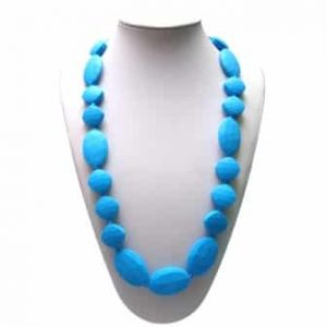 This stylish sky blue Angelically Ageless design features 7 x oval and 12 square shaped soft, silicone beads. A unisex sensory resource, chew necklace for anxiety, chewy necklace for Autism, chew necklace for ADHD. A great educational tool to fill your sensory tank. A breakaway clasp for extra safety. Unisex sensory resource for people with special needs and/or chew their fingernails, chew their shirt collar. Chew on our healthy alternatives and order now www.ninjababies.com.au