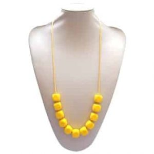 This stylish yellow Cyclonic Whisper design features eleven 1.7cm cube shaped soft, silicone beads. A gorgeous ray of sunshine! A unisex sensory resource, chew necklace for anxiety, chewy necklace for Autism, chew necklace for ADHD. A great educational tool to fill your sensory tank. A breakaway clasp for extra safety. Unisex sensory resource for people with special needs and/or chew their fingernails, chew their shirt collar. Chew on our healthy alternatives and order now www.ninjababies.com.au