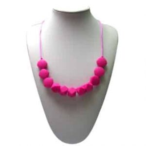 This stylish magenta Funk Yes design features six square and five 10-sided shaped soft, silicone beads. A unisex sensory resource, chew necklace for anxiety, chewy necklace for Autism, chew necklace for ADHD. A great educational tool to fill your sensory tank. A breakaway clasp for extra safety. Unisex sensory resource for people with special needs and/or chew their fingernails, chew their shirt collar. Chew on our healthy alternatives and order now www.ninjababies.com.au