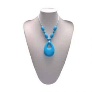 This stylish Sky Blue Funology design features four 9mm sphere and 4 x oval shaped beads individually knotted with a 6.8cm x 4.5cm x 1.2cm angel tear shaped soft, silicone pendant. The necklace cord is easily adjustable to accommodate your desired length. A chew necklace for anxiety, chewy necklace for Autism, chew necklace for ADHD. A great educational tool to fill your sensory tank. A breakaway clasp for extra safety. Unisex sensory resource for people with special needs and/or chew their fingernails, chew their shirt collar. Chew on our healthy alternatives and order now www.ninjababies.com.au