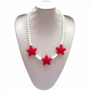 This stylish red razzle dazzle design, silicone pendant. A chew necklace for anxiety, chewy necklace for Autism, chew necklace for ADHD. A great educational tool to fill your sensory tank. A breakaway clasp for extra safety. Unisex sensory resource for people with special needs and/or chew their fingernails, chew their shirt collar. Chew on our healthy alternatives and order now www.ninjababies.com.au