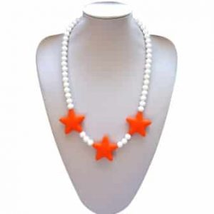 This stylish orange razzle dazzle design, silicone pendant. A chew necklace for anxiety, chewy necklace for Autism, chew necklace for ADHD. A great educational tool to fill your sensory tank. A breakaway clasp for extra safety. Unisex sensory resource for people with special needs and/or chew their fingernails, chew their shirt collar. Chew on our healthy alternatives and order now www.ninjababies.com.au