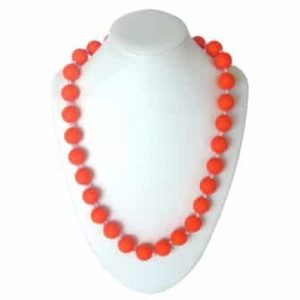 This stylish orange sassy soul mate design features twenty-eight 15mm sphere shaped soft, silicone beads which are individually knotted. A chew necklace for anxiety, chewy necklace for Autism, chew necklace for ADHD. A great educational tool to fill your sensory tank. A breakaway clasp for extra safety. Unisex sensory resource for people with special needs and/or chew their fingernails, chew their shirt collar. Chew on our healthy alternatives and order now www.ninjababies.com.au