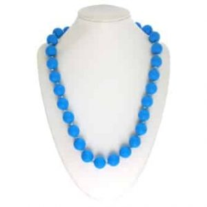 This stylish sky blue sassy soul mate design features twenty-eight 15mm sphere shaped soft, silicone beads which are individually knotted. A chew necklace for anxiety, chewy necklace for Autism, chew necklace for ADHD. A great educational tool to fill your sensory tank. A breakaway clasp for extra safety. Unisex sensory resource for people with special needs and/or chew their fingernails, chew their shirt collar. Chew on our healthy alternatives and order now www.ninjababies.com.au