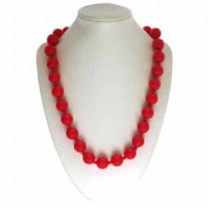 This stylish red sassy soul mate design features twenty-eight 15mm sphere shaped soft, silicone beads which are individually knotted. A chew necklace for anxiety, chewy necklace for Autism, chew necklace for ADHD. A great educational tool to fill your sensory tank. A breakaway clasp for extra safety. Unisex sensory resource for people with special needs and/or chew their fingernails, chew their shirt collar. Chew on our healthy alternatives and order now www.ninjababies.com.au