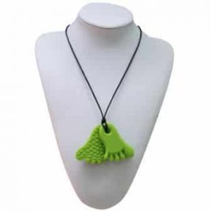 This funky green funny feet design features two 6.7cm x 4.8cm x 0.8cm feet shaped soft, silicone pendants. The front of each pendant is smooth while the back has raised bumps for a varied sensory experience. Chew pendant for anxiety, chewy pendant for Autism, chew pendant for ADHD. A great educational tool to fill your sensory tank. The necklace cord is easily adjustable to accommodate your desired length and has a breakaway clasp for extra safety. Unisex sensory resource for people with special needs and/or chew their fingernails, chew their shirt collar. Chew on our healthy alternatives and order now www.ninjababies.com.au