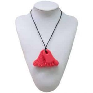 This funky red funny feet design features two 6.7cm x 4.8cm x 0.8cm feet shaped soft, silicone pendants. The front of each pendant is smooth while the back has raised bumps for a varied sensory experience. Chew pendant for anxiety, chewy pendant for Autism, chew pendant for ADHD. A great educational tool to fill your sensory tank. The necklace cord is easily adjustable to accommodate your desired length and has a breakaway clasp for extra safety. Unisex sensory resource for people with special needs and/or chew their fingernails, chew their shirt collar. Chew on our healthy alternatives and order now www.ninjababies.com.au