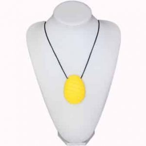 Our Ninja Babies Yellow Punky Pineapple design features a 7cm x 5.1cm x 1.3cm pineapple shaped shaped soft, silicone, chewy sensory pendant. Features grooves down the pendant to rub your fingers, tongue, teeth. An ideal way to participate, concentrate and self-regulate. The necklace cord is easily adjustable to accommodate your desired length and has a breakaway clasp for extra safety. A perfectly easy to clean and unisex sensory resource for ages 3+ years and most abilities. Fill your sensory tank and order now via www.NinjaBabies.com.au